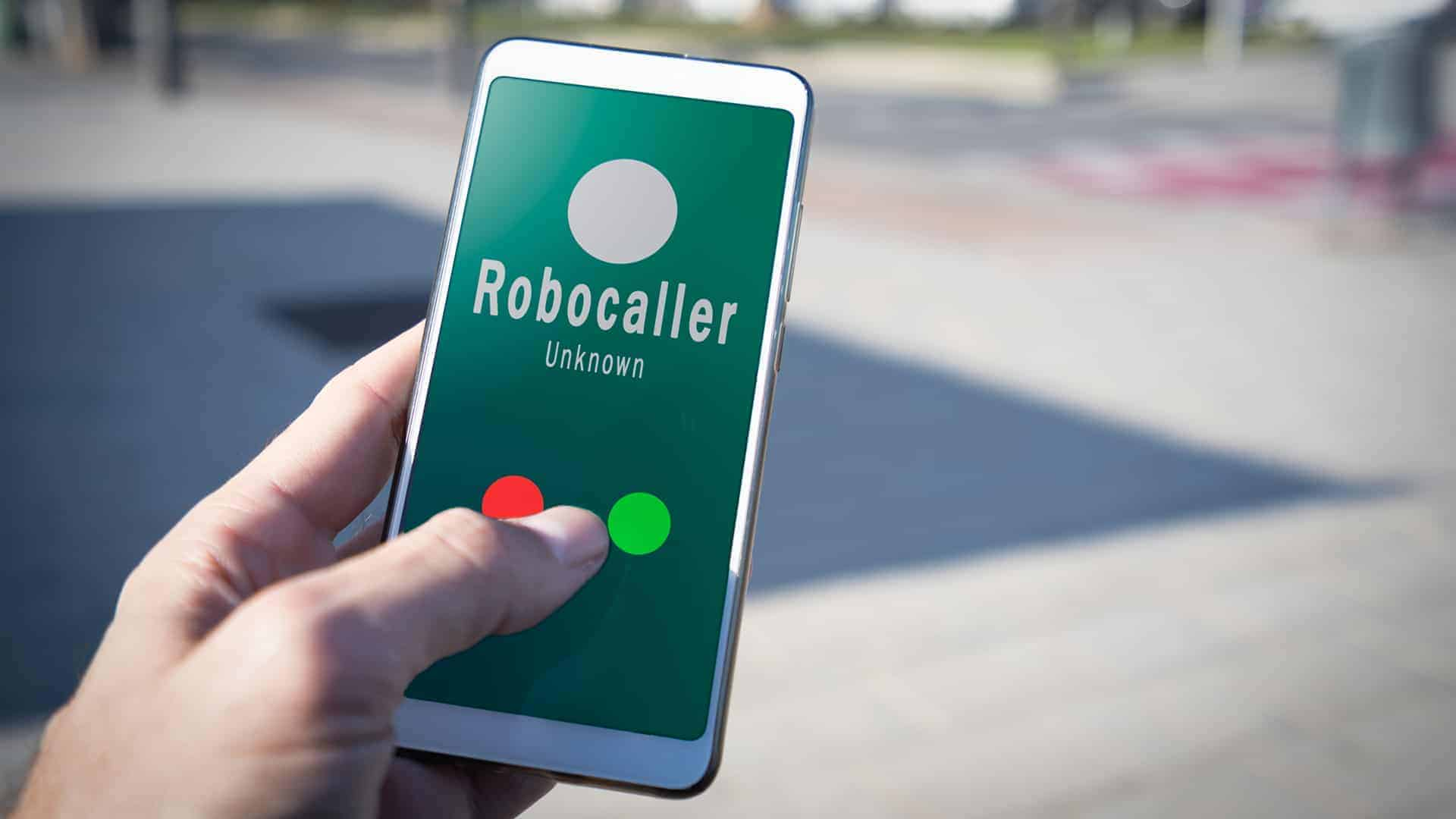 Smartphone showing a call from a robocaller on screen