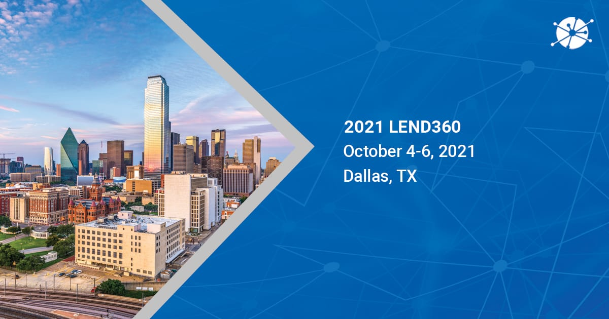 An image shot in the daylight in dallas, tx pointing on 2021 lend360 with vector lines in the background