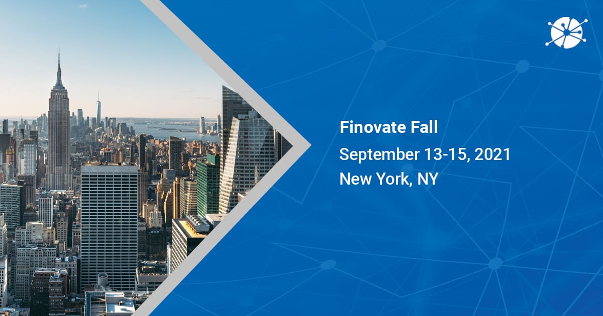 A image shot in the daylight in new york, ny pointing on finovate fall september 13-15, 2021 with vector lines in the background