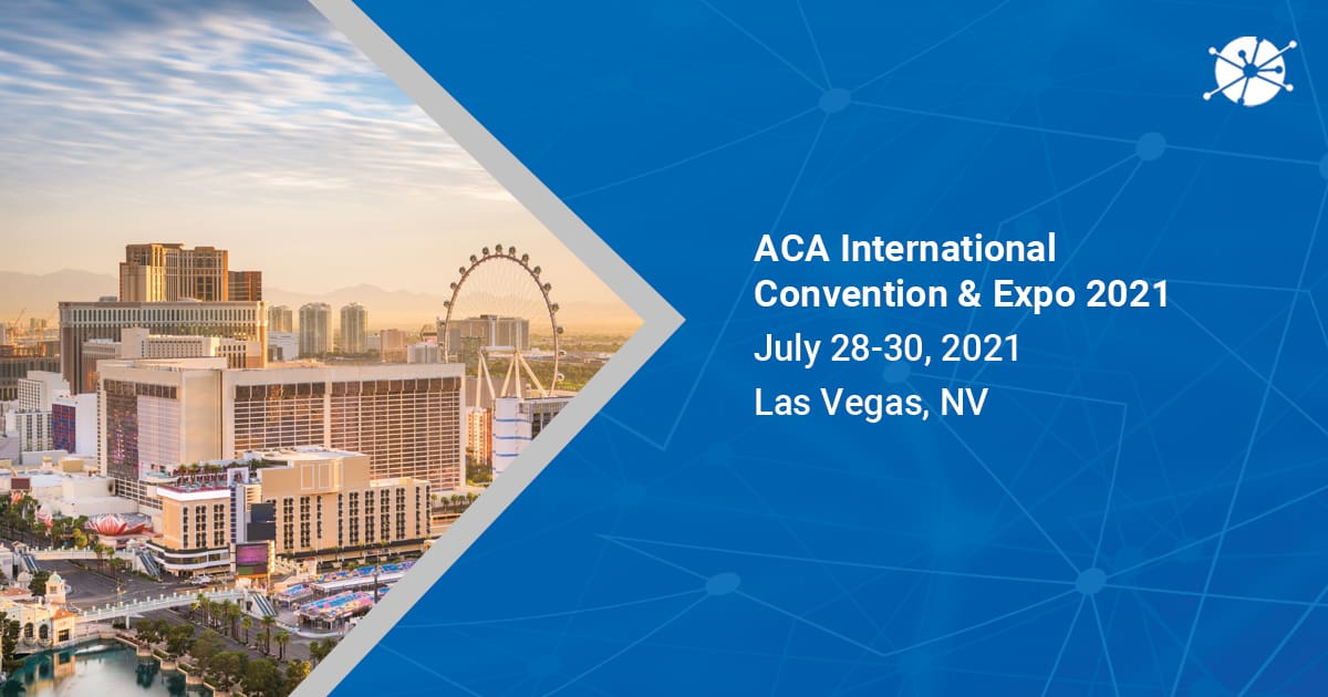 An image shot in the daylight in las vegas, nv pointing on aca international convention & expo 2021 with vector lines in the background