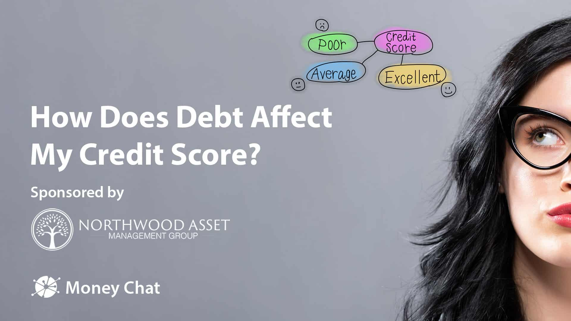 Credit score theme with young businesswoman in a thoughtful face