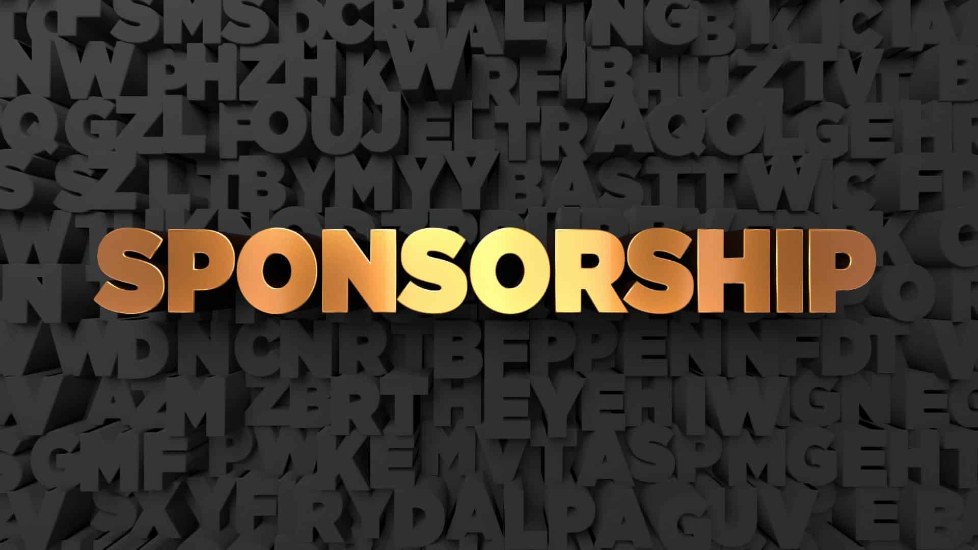 3D design of sponsorship written in gold with a black background