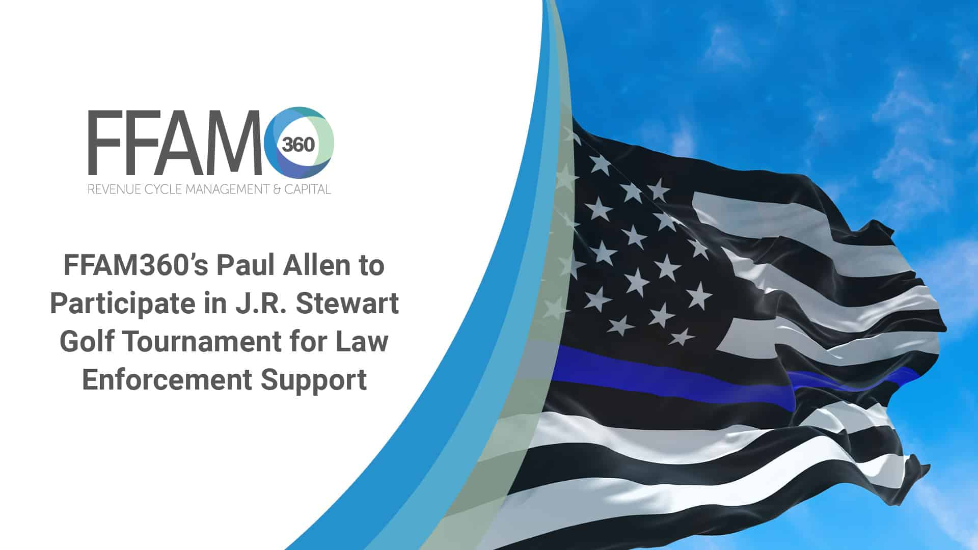 Thin Blue Line. Black Flag of USA with Police Blue Line waving in the wind on flagpole against the sky with clouds on sunny day