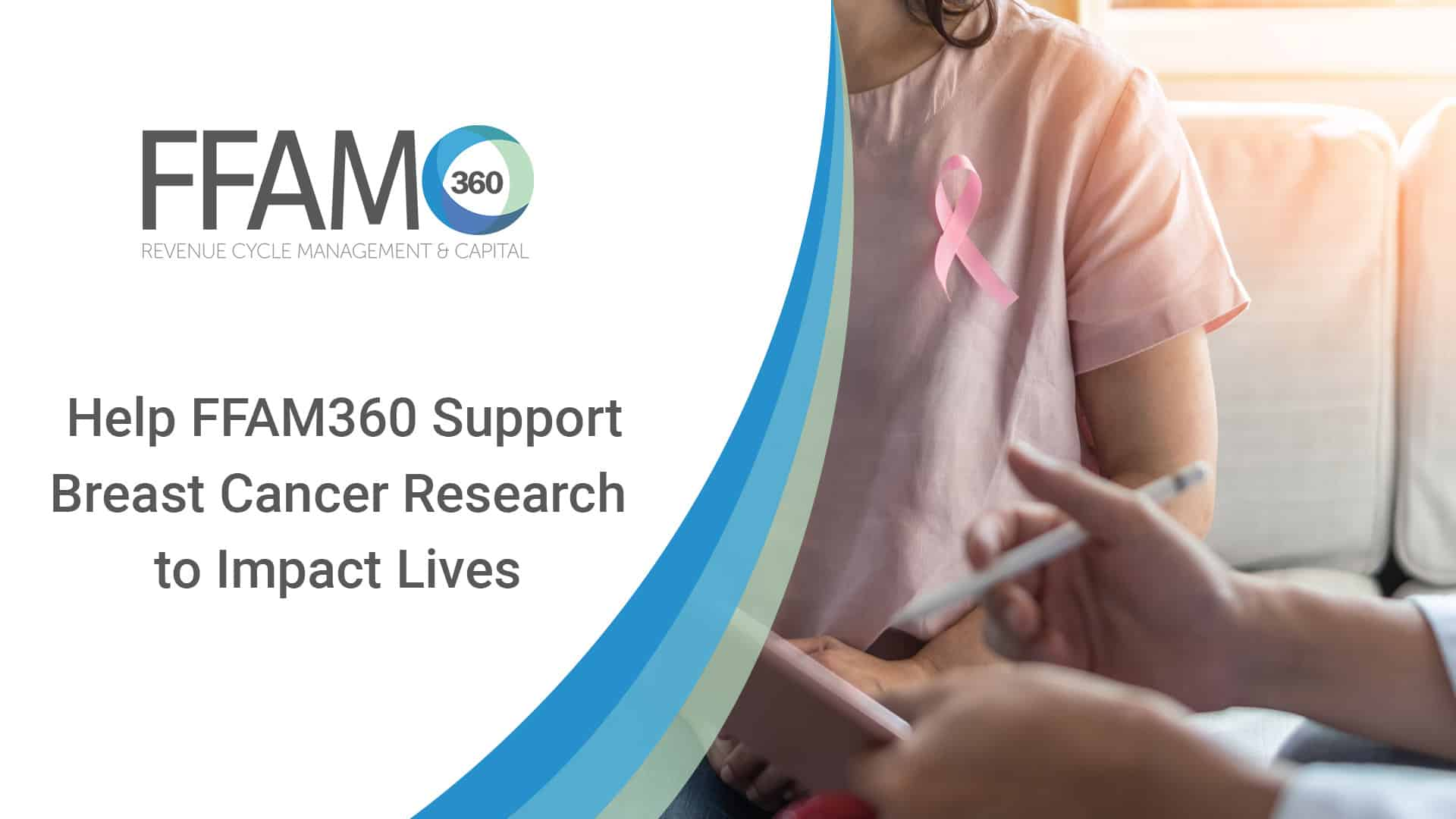Breast cancer awareness with woman patient wearing pink ribbon consulting with doctor