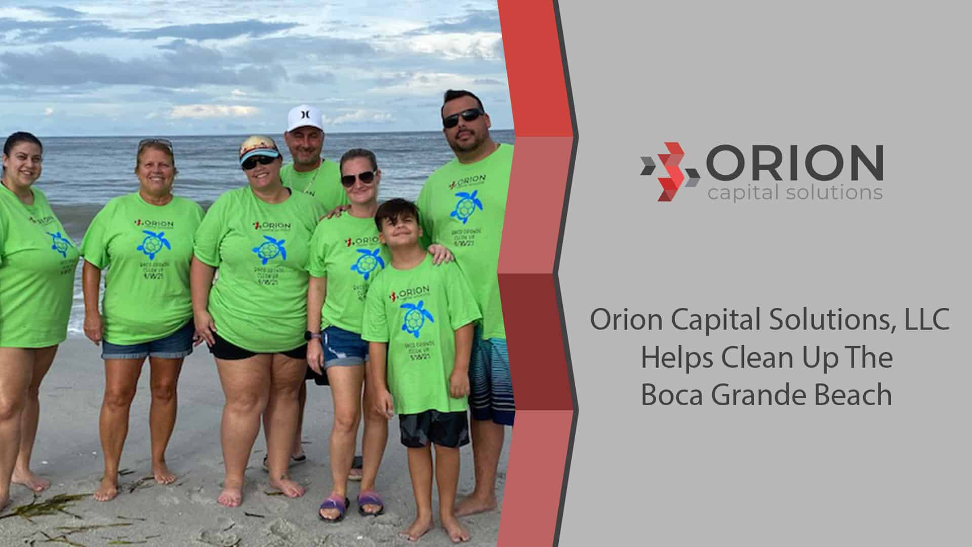 Orion team members at beach cleanup